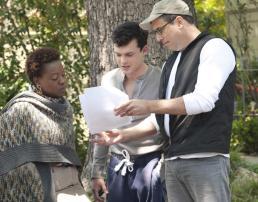 Viola Davis and Alden Ehrenreich look over the script with director Richard LaGravenese