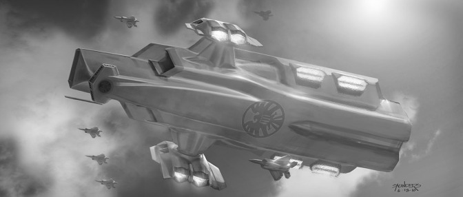 """""""In a more radical departure from the concept of 'Heli-' carrier I was exploring some form of vertical jet engine clusters to lift the massive hull rather than the traditional ducted fans."""""""