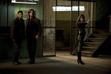 Jensen Ackles as Dean, Jared Padalecki as Sam, and Anna Van Hooft as Artemis