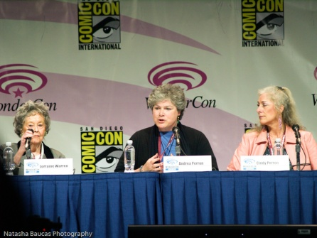 """from l. to r. - Lorraine Warren, Andrea Perron, and Cindy Perron. These were the people the movie """"The Conjuring"""" was based off of."""